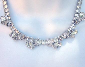 Vintage Eisenberg Necklace Bridal Jewelry Crystal Necklace Eisenberg Jewelry