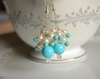 Turquoise pearl and crystal dangle earrings, pearl earrings, turquoise earrings, bridesmaids jewelery