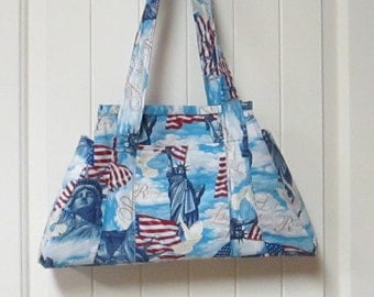 EVERYTHING ON SALE clearance priced - Handmade - Patriotic - 4th of July - Liberty - Handbag - Tote Bag - Purse