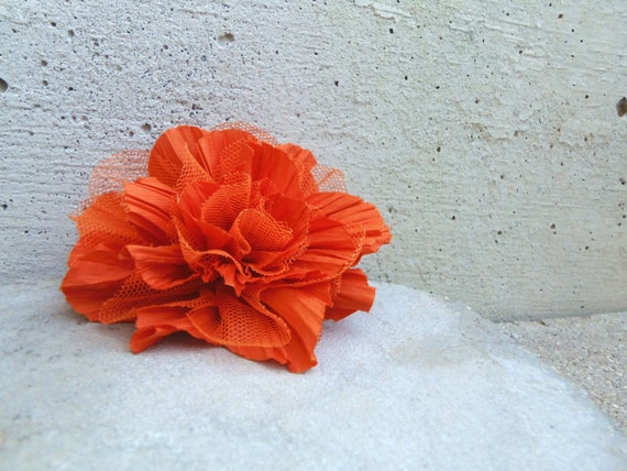 Peony fabric brooch in orange. Flower pin with tulle. Fabric flower