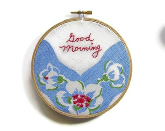 Wall art hoop embroidered blue raspberry green floral good morning