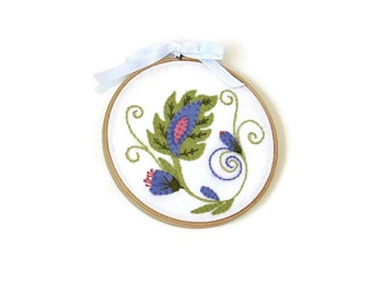 Embroidered hoop art, wool felt cotton, Jacobean,floral, green purple pink on white