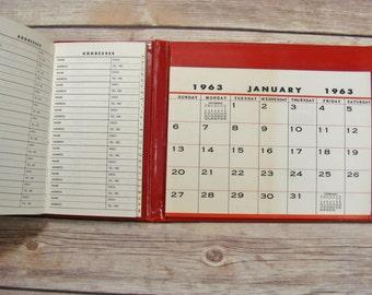 Vintage 1963 Calendar and Address Book Desk Set in red leatherette 2019 calendar