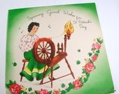 Vintage St. Patrick's Day Greeting Card, Green, Pink Flowers, Old Card  (615-13)