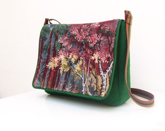 Felt Woodland Messenger Laptop Macbook Bag Sleeve with Vintage Gobelin