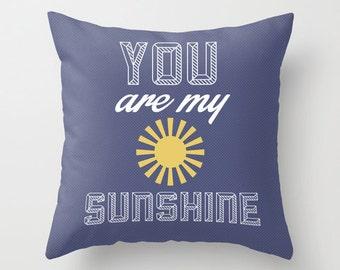 Sunshine Blue POPULAR FABRIC Throw Pillow Cover Case 16X16 or 18x18 Or 20x20 Hidden Zipper