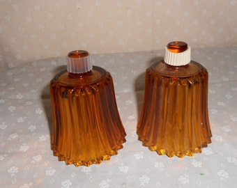 Amber Votive Candle Cups Diamond Cut Glass
