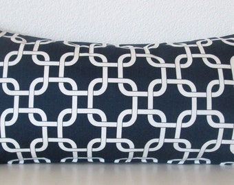 Navy blue lattice decorative lumbar pillow cover - Blue and white geometric accent pillow cover