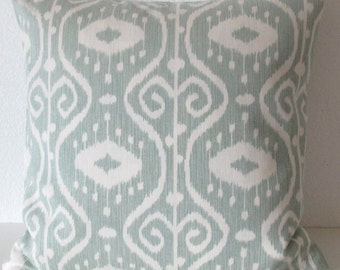 Spa green ikat decorative pillow cover - Magnolia Bali Spa - accent pillow cover