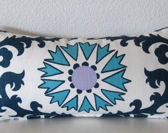 Blue suzani decorative lumbar pillow cover - 8x16 - Blues and white suzani accent pillow cover