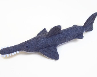 toy sawfish, stuffed swordfish, plush toy fish, waldorf toy, waldorf animal, wool toy, stuffed animal, child's toy toy fish