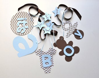 Blue and brown chevron baby shower decorations it's a boy banner by ParkersPrints on Etsy