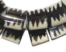 30 Batik Bone Beads - African Beads - Zebra Flag Design - Kenyan Bone Beads - Jewelry Making Supplies - Made in Kenya ** (BON-FLT-ZEB-247)