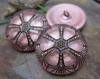 1  Metallic Rose Wheel Czech Glass Button 27mm