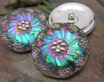 1  Metallic Rainbow Flower Czech Glass Button 27mm