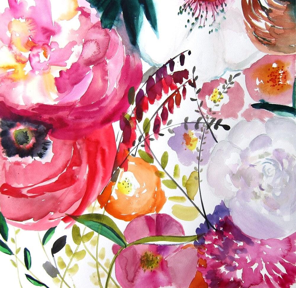 floral watercolors art prints landscape painting by maiautumn