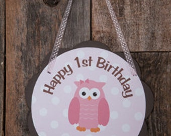 Owl Door Hanger Party Sign - Owl Happy Birthday Party Decorations in Pink & Brown Owl - Girl Birthday Party Owl Theme