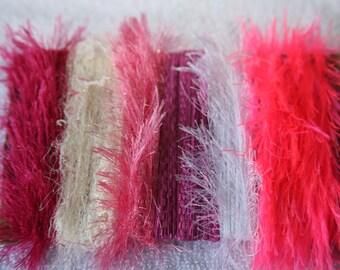 ice yarns samples fiber art bundle cards PINK shades eyelash cream white crepe ribbon sweet lurex eyelash scrapbooking supply card making