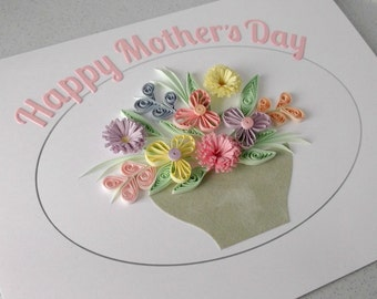 Quilled happy mother's day card, handmade with paper quilling, pastel flowers