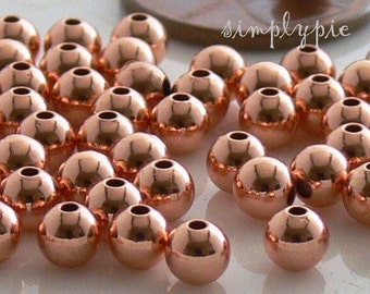 4mm Round Copper Metal Beads Smooth 50