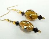 Amber Glass Beaded Swirl Fashion Earrings