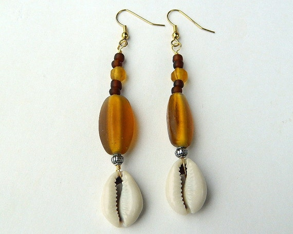 Long Oshun Inspired Amber Colored Glass Fashion Earrings with Cowrie Shells