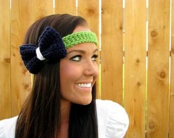 Seattle Seahawks Blue Green White Crochet Bow Headband w/ Vegan Coconut Buttons Adjustable Hair Band Girl Woman Head Wrap Hawks Accessories