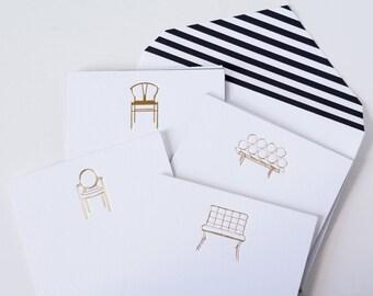 Gift Under 25, Girlfriend Gift, Friend Gift, Teacher Gift, Gold Foil, Modern Design, Furniture Card, Midcentury Modern Card, Stationery Set