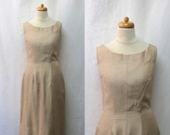1950s Vintage Suzy Perette Silk Dress / Golden Tan Sheath Dress