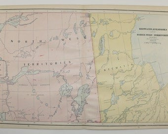 1800s Northwest Territories Map, Vintage NWT Canada Map, Keewatin Athabasca 1888 Antique Travel Map Canada Decor Gift, Vintage Geography Art