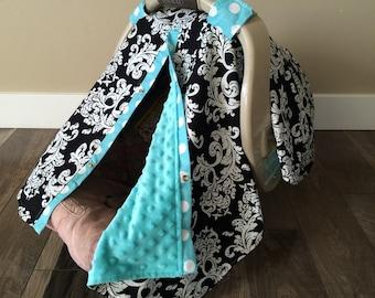 Car seat canopy Minky dot inside / car seat cover / nursing cover / carseat canopy / carseat cover