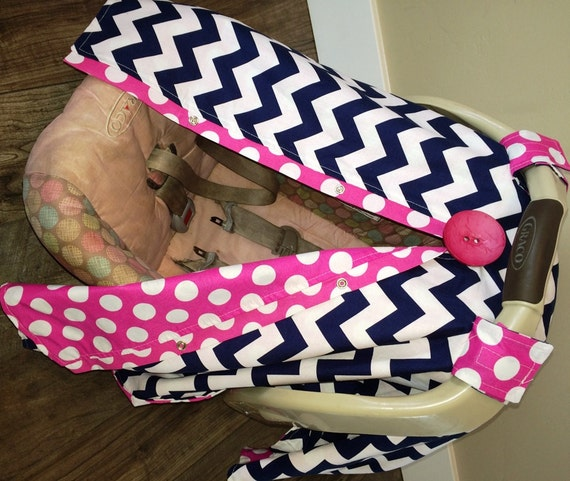 Navy and Hot pink Carseat Canopy  / carseat cover / car seat cover / car seat canopy / nursing cover