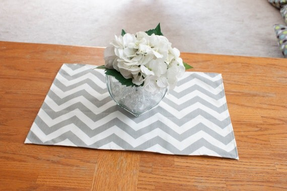 grey and white chevron placemat choose size baby shower. Black Bedroom Furniture Sets. Home Design Ideas