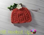 Crochet Newborn Lacy Pumpkin Hat, Baby Girl Pumpkin Hat, Newborn Photo Prop, Halloween