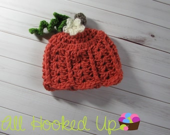 Crochet Newborn Lacy Pumpkin Hat, Baby Girl Pumpkin Hat, Newborn Photo Prop, Halloween