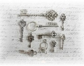 Skeleton   Keys Charms Set of 10 for Scrapbooking, Card Making, Tag Art, Altered Art, Mixed Media
