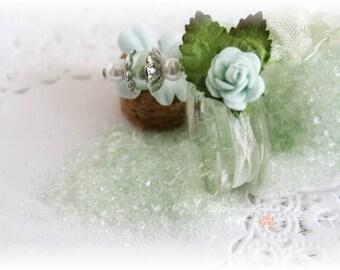 Glitter Glass Bottles .5 Ounces, Hand Tinted Diamond Dust, German Glitter, Mint Green