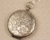 Long Antique Silver Locket Necklace with Paisley Flowers, Push Button Locket, Cherry Blossoms, Large Locket Jewelry, Long Pendant Necklace