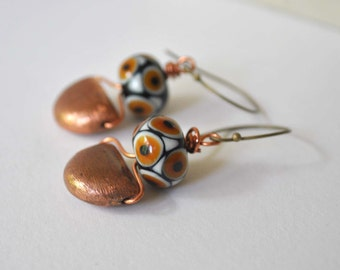 Copper Earrings, Lampwork Earrings, Glass Bead Earrings, Beaded Glass Earrings