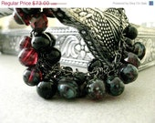 On Sale Ruby Red Patina Toned Picasso Czech Glass Hand Beaded Bracelet - Red Twilight