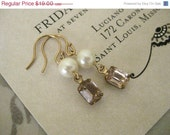 On Sale Dainty Vintage Rosalin and Vintage Pearl Gold Fill Earrings - Rosebud