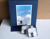 Glass Tile Photo Earrings - Man In Cloud