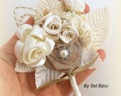 Boutonniere, Brooch, Groom, Groomsmen, Corsage, Mother of the Bride, Tan, Beige, Champagne, Ivory, Pearls, Crystals, Satin, Vintage Wedding