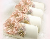 Bridesmaids Clutches, Blush, Ivory, Rose, Gold, Handbags, Bags, Purses, Maid of Honor, Pearls, Brooch, Crystals, Vintage Style, Elegant