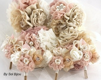 Bridesmaids Bouquets, Brooch Bouquets, Boutonnieres, Tan, Beige, Champagne, Blush, Ivory, Groom, Corsages, Vintage Style, Crystals, Pearls
