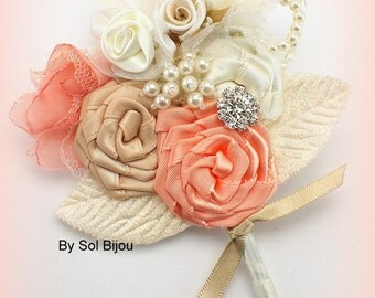 Boutonniere, Coral, Champagne, Tan, Cream, Ivory, Corsage, Groom, Mother of the Bride, Button Hole, Bout, Pearls, Crystals, Elegant Wedding
