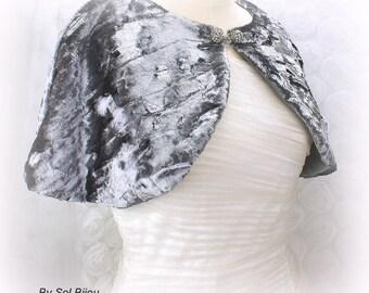 Wedding Cape, Bridal Silver Cape, Velour Cape, Faux Fur Cape, Bridal Shrug, Capelet, Pewter Cape, Bolero, Gray, Elegant, Vintage Style