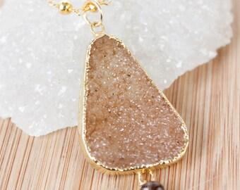 50% OFF SALE - Peach Orange Druzy Necklace - Free Form Gemstone - Gold Pyrite Chain, Metallic Gold
