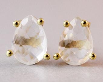 Crystal Stud Earrings - Crystal Quartz Posts - Bridal Earrings, Wedding Jewelry