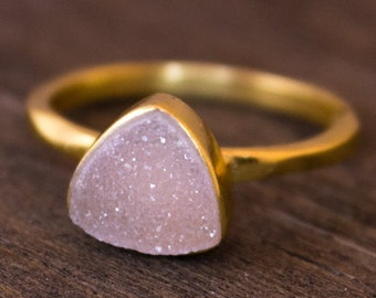 Gold Pink Druzy Pyramid Ring - Stackable Ring - Rose Pink, Triangle Ring